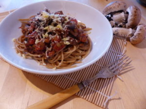 Mushroom and tomato spaghetti