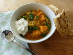 Spinach and sweet potato dahl